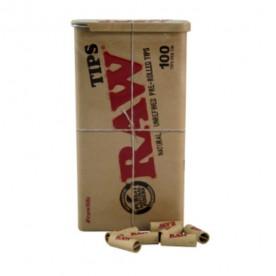 Raw caja metal + 100 filtros prerolled